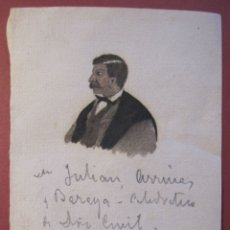 Arte: RETRATO DE ARRIBAS BARAYA, JULIÁN (1835-1894). ORIGINAL AGUADA DE TINTA. PAPEL. 10,5 X 7,5 CM. Lote 180086948
