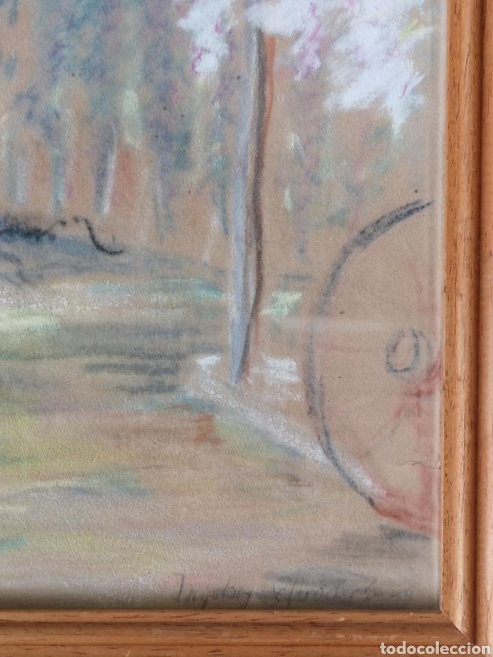 Arte: Dibujo a pastel, firmado y enmarcado, arboles, tamaño con marco 52x44cm Posiblemente artista alemán - Foto 3 - 180094416