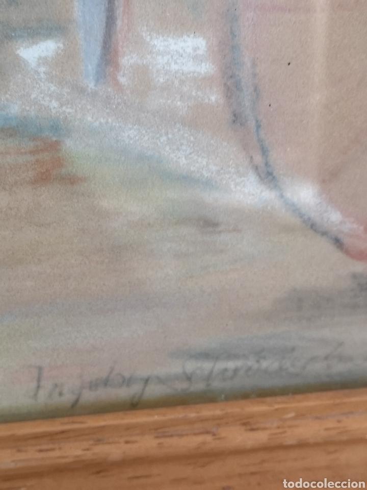 Arte: Dibujo a pastel, firmado y enmarcado, arboles, tamaño con marco 52x44cm Posiblemente artista alemán - Foto 4 - 180094416