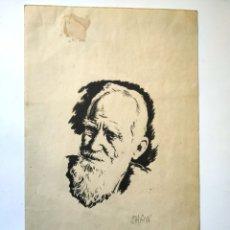 Arte: DIBUJO A TINTA REPRESENTANDO AL ESCRITOR BERNARD SHAW 21,5 X 13, 5 CM. Lote 180108297