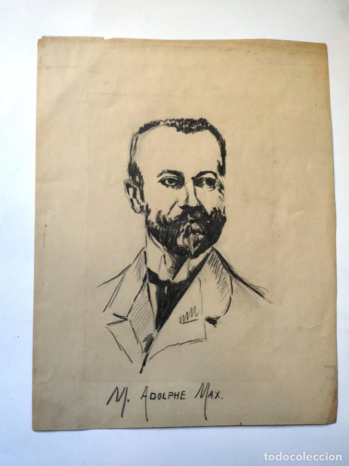DIBUJO A LAPIZ REPRESENTANDO A ADOLPHE MAX POLITICO BELGA 19,5 X 15 CM (Arte - Dibujos - Modernos siglo XIX)