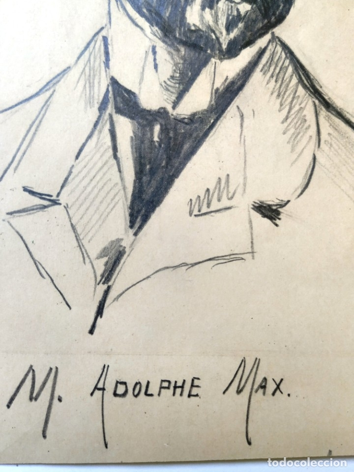 Arte: DIBUJO A LAPIZ REPRESENTANDO A ADOLPHE MAX POLITICO BELGA 19,5 X 15 CM - Foto 2 - 180108440