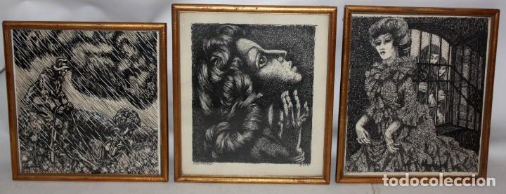ALEJANDRO SIRIO (OVIEDO, 1890 - BUENOS AIRES, 1953) CONJUNTO DE 3 DIBUJOS A TINTA ORIGINALES (Arte - Dibujos - Contemporáneos siglo XX)