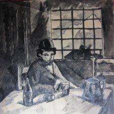 Arte: ERNEST ENGUIU MALARET . FIGURA EN UN INTERIOR, TINTA. FIRMADO 21,5 X 17 CM. Lote 180186538