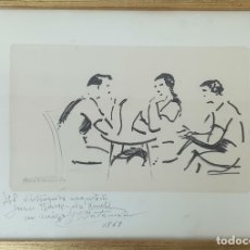 Arte: REUNIÓN. DIBUJO A TINTA SOBRE PAPEL JOAN MATAMALA FLOTATS. 1969. . Lote 180312513