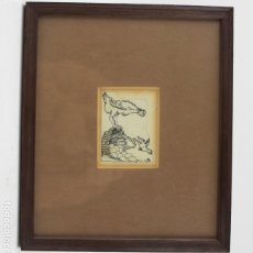 Arte: JOAN JUNCEDA, DIBUJO A TINTA, GALLINA, HUEVOS Y POLLITO, FIRMADO, CON MARCO. 7,5X5,5CM. Lote 180328760