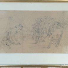 Arte: LA MUERTE DE SÍSARA. DIBUJO AL CARBÓN SOBRE PAPEL. RAMÓN TUSQUETS. SIGLO XIX-XX.. Lote 206293640
