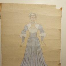 Arte: DISEÑO DE VESTUARIO DE VALMIER, MARGUERITTE DE LA OPERA FAUSTO, OPERA DE BOURDEAUX CA.1950. Lote 180429465