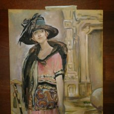 Arte: A LOZANO SIDO. ELEGANTE DAMA, ACUARELA SOBRE PAPEL. S.. XIX. Lote 180431480