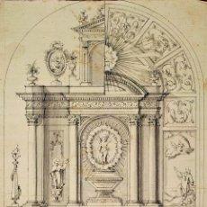 Arte: PROYECTO PARA RETABLO NEOCLÁSICO. TINTA Y ACUARELA SOBRE PAPEL. ESPAÑA FIN SIGLO XVIII. Lote 180467117