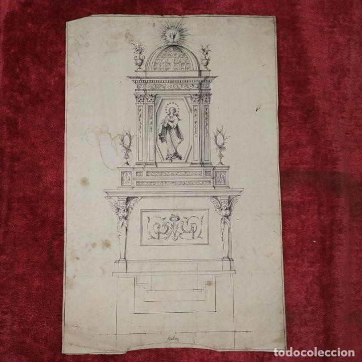 Arte: PROYECTO DE RETABLO NEOCLÁSICO. TINTA Y ACUARELA SOBRE PAPEL. ESPAÑA. FIN SIGLO XVIII - Foto 2 - 180468713