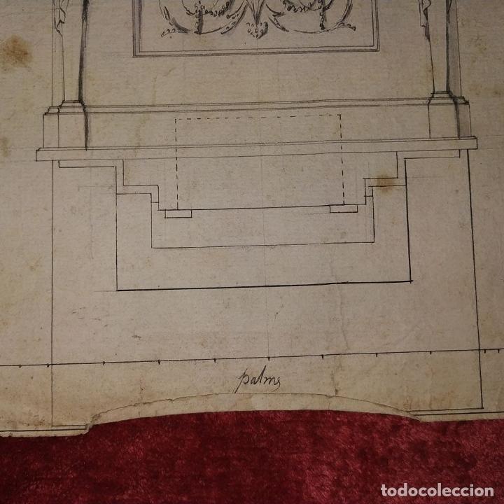 Arte: PROYECTO DE RETABLO NEOCLÁSICO. TINTA Y ACUARELA SOBRE PAPEL. ESPAÑA. FIN SIGLO XVIII - Foto 3 - 180468713