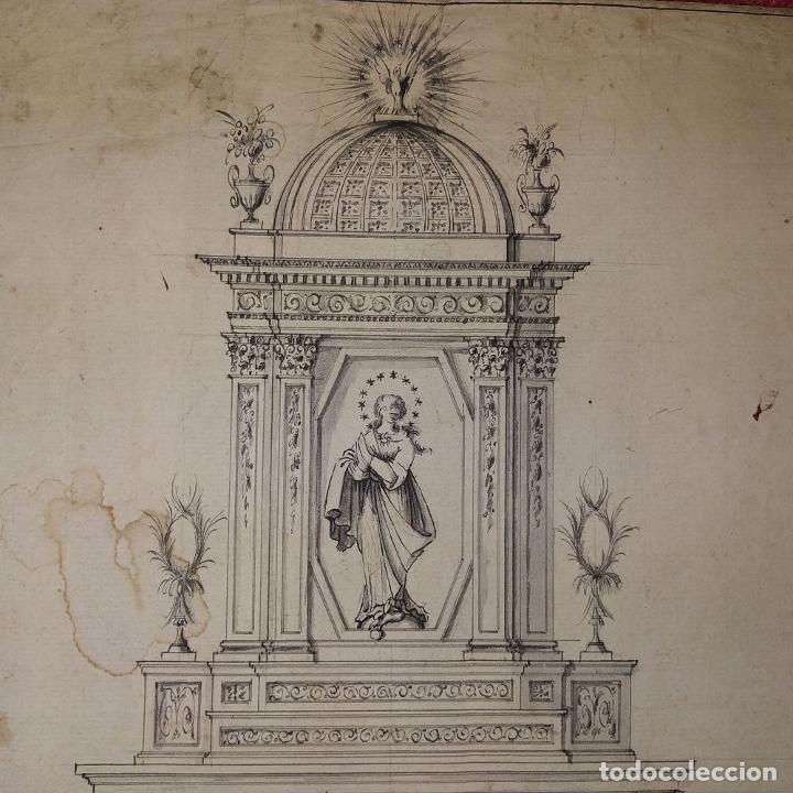 Arte: PROYECTO DE RETABLO NEOCLÁSICO. TINTA Y ACUARELA SOBRE PAPEL. ESPAÑA. FIN SIGLO XVIII - Foto 4 - 180468713