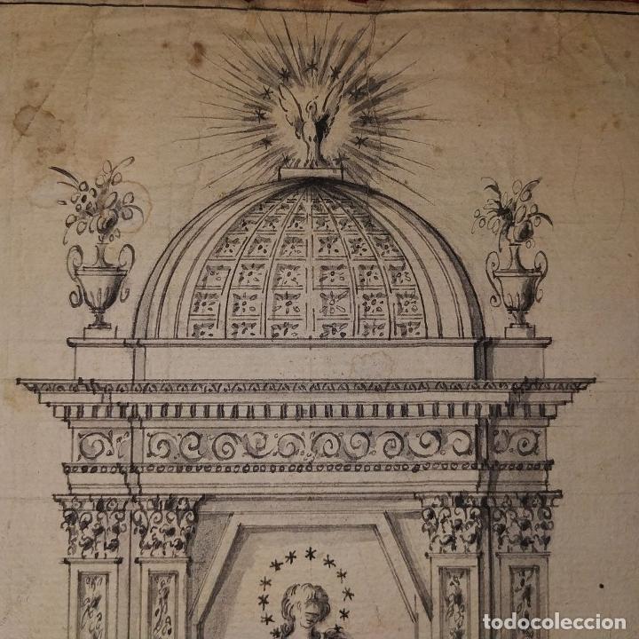 Arte: PROYECTO DE RETABLO NEOCLÁSICO. TINTA Y ACUARELA SOBRE PAPEL. ESPAÑA. FIN SIGLO XVIII - Foto 5 - 180468713