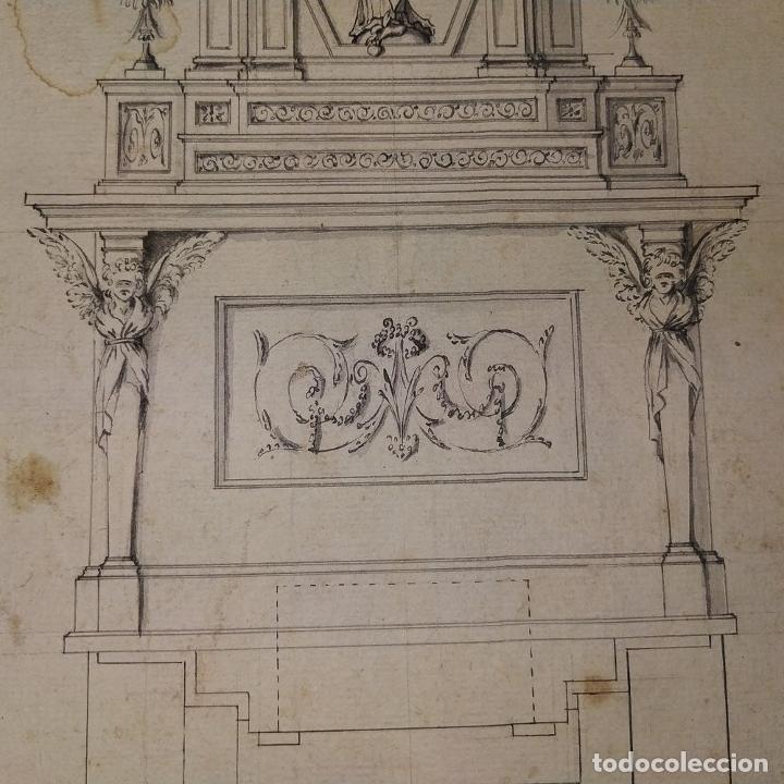 Arte: PROYECTO DE RETABLO NEOCLÁSICO. TINTA Y ACUARELA SOBRE PAPEL. ESPAÑA. FIN SIGLO XVIII - Foto 6 - 180468713