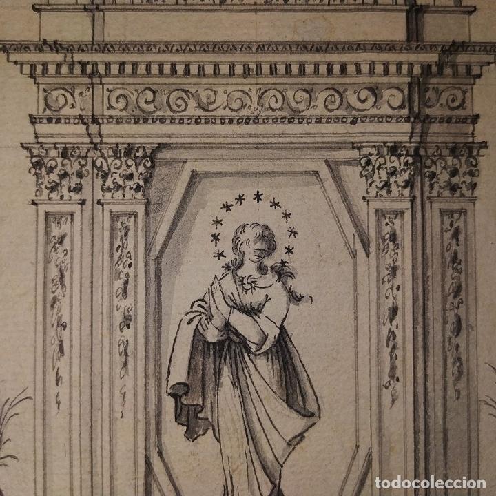 Arte: PROYECTO DE RETABLO NEOCLÁSICO. TINTA Y ACUARELA SOBRE PAPEL. ESPAÑA. FIN SIGLO XVIII - Foto 7 - 180468713