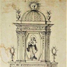 Arte: PROYECTO DE RETABLO NEOCLÁSICO. TINTA Y ACUARELA SOBRE PAPEL. ESPAÑA. FIN SIGLO XVIII. Lote 180468713