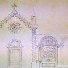 Arte: PROYECTO DE IGLESIA NEOGÓTICA. GRAFITO SOBRE PAPEL. ESPAÑA. SIGLOS XIX-XX. Lote 180471616