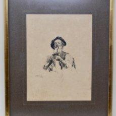 Arte: RETRATO EN TINTA- ANTONIO ESTRUCH 1898 - CON MARCO 30,5 X 25,4 CM. Lote 180472601