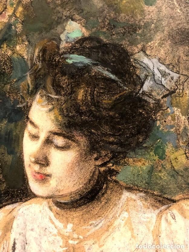 Arte: DIBUJO ARCADI MAS Y FONDEVILA - DAMA EN EL JARDÍN - 62 x 46 cm - MODERNISTA - Foto 3 - 180903312