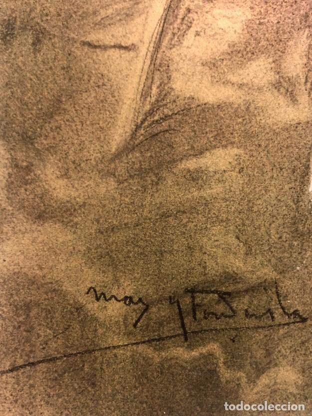 Arte: DIBUJO ARCADI MAS Y FONDEVILA - DAMA EN EL JARDÍN - 62 x 46 cm - MODERNISTA - Foto 4 - 180903312