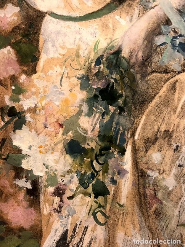 Arte: DIBUJO ARCADI MAS Y FONDEVILA - DAMA EN EL JARDÍN - 62 x 46 cm - MODERNISTA - Foto 6 - 180903312