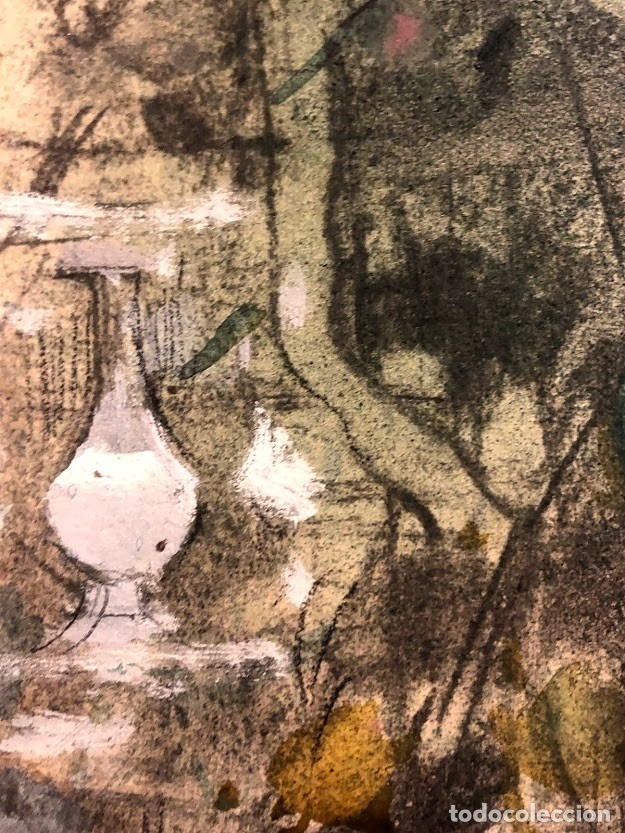 Arte: DIBUJO ARCADI MAS Y FONDEVILA - DAMA EN EL JARDÍN - 62 x 46 cm - MODERNISTA - Foto 7 - 180903312