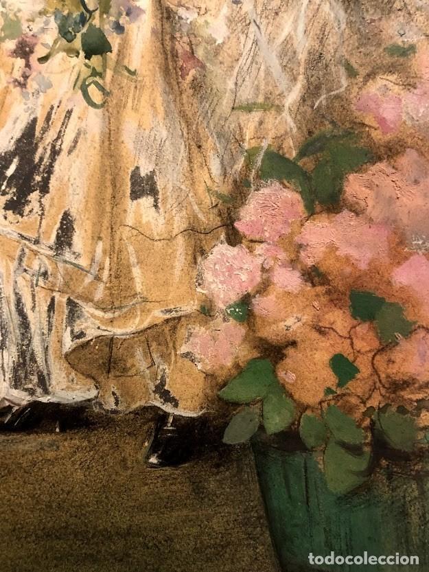 Arte: DIBUJO ARCADI MAS Y FONDEVILA - DAMA EN EL JARDÍN - 62 x 46 cm - MODERNISTA - Foto 9 - 180903312