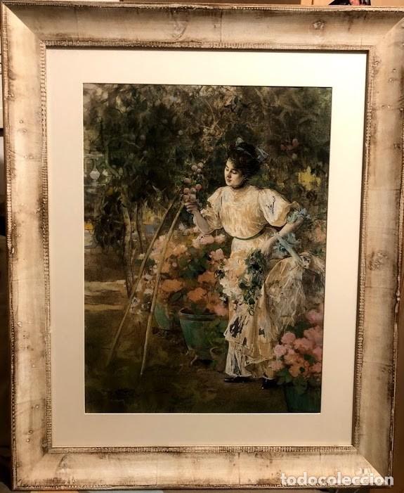 Arte: DIBUJO ARCADI MAS Y FONDEVILA - DAMA EN EL JARDÍN - 62 x 46 cm - MODERNISTA - Foto 13 - 180903312