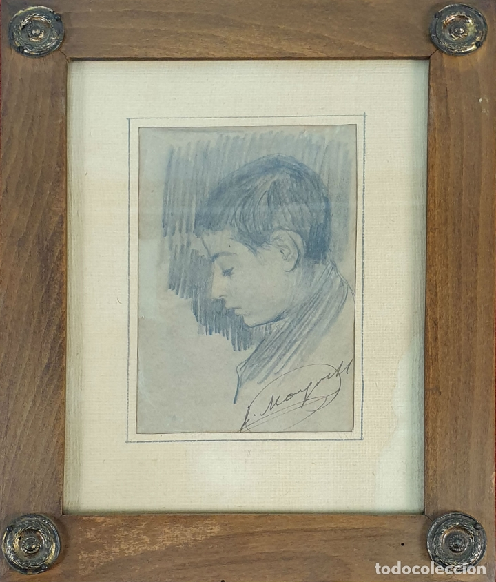 RETRATO DE NIÑO. DIBUJO AL GRAFITO SOBRE PAPEL. FIRMA ILEGIBLE. SIGLO XIX-XX. (Arte - Dibujos - Modernos siglo XIX)