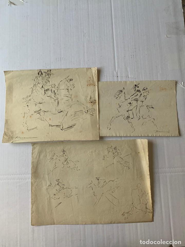 RICARDO MARÍN - A CABALLO - 2 DIBUJOS FIRMADOS Y 1 SIN FIRMAR (Arte - Dibujos - Contemporáneos siglo XX)