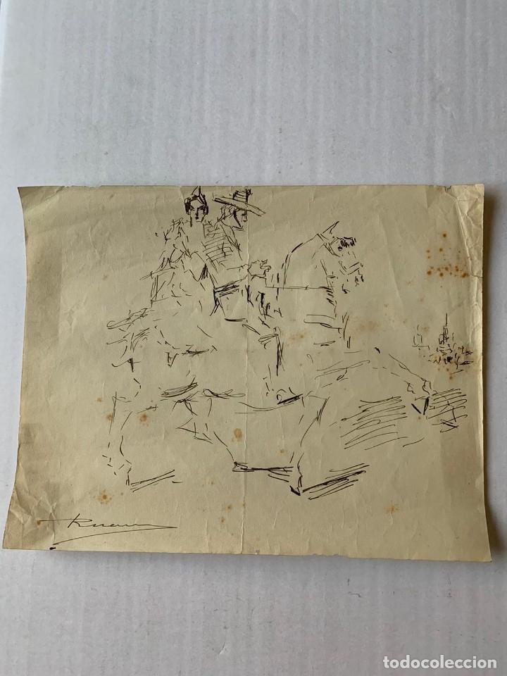 Arte: RICARDO MARÍN - A CABALLO - 2 DIBUJOS FIRMADOS Y 1 SIN FIRMAR - Foto 2 - 180953647