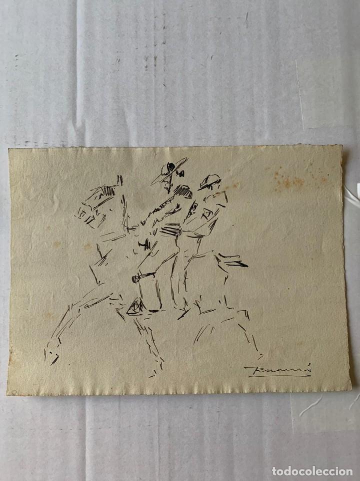 Arte: RICARDO MARÍN - A CABALLO - 2 DIBUJOS FIRMADOS Y 1 SIN FIRMAR - Foto 5 - 180953647