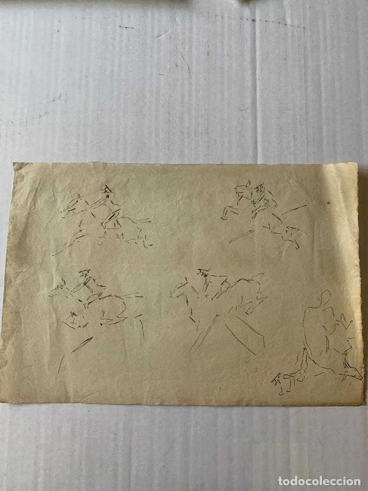Arte: RICARDO MARÍN - A CABALLO - 2 DIBUJOS FIRMADOS Y 1 SIN FIRMAR - Foto 9 - 180953647
