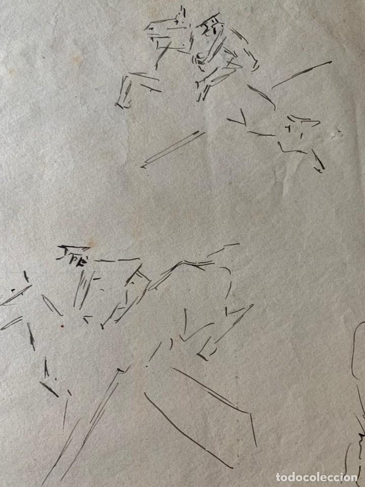 Arte: RICARDO MARÍN - A CABALLO - 2 DIBUJOS FIRMADOS Y 1 SIN FIRMAR - Foto 13 - 180953647