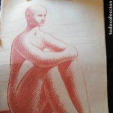 Arte: DIBUJO SANGUINA ORIGINAL DEL ARTISTA CANARIO PLÁCIDO FLEITA.. UNO DE LOS GRANDES DEL ARTE CANARIO. Lote 180971668