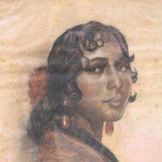 Arte: CARLOS VÁZQUEZ (1869 - 1944), DIBUJO, GITANA, RETRATO MUJER, FIRMADO, CON MARCO. 67X50CM. Lote 181014132