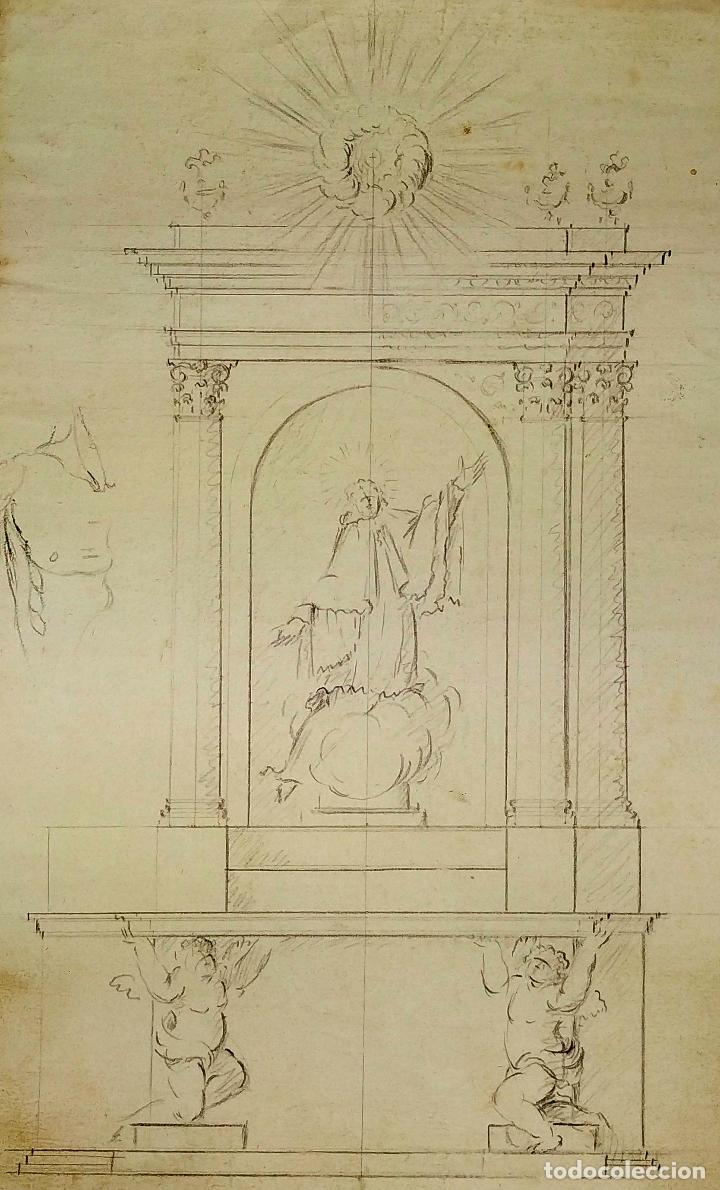 PROYECTO DE RETABLO NEOCLÁSICO. GRAFITO SOBRE PAPEL. ESPAÑA. SIGLOS XVIII-XIX (Arte - Dibujos - Antiguos hasta el siglo XVIII)