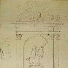 Arte: PROYECTO DE RETABLO NEOCLÁSICO. GRAFITO SOBRE PAPEL. ESPAÑA. SIGLOS XVIII-XIX. Lote 181016937