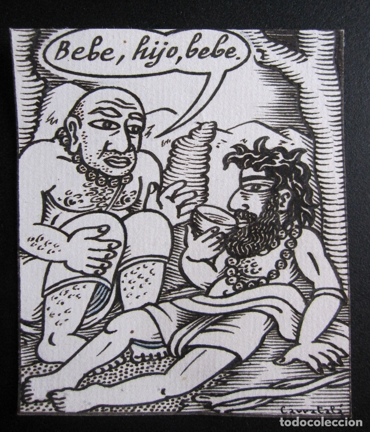 ERNESTO CARRATALÁ. DIBUJANTE VIBORA. VIÑETA ORIGINAL A TINTA. 9,5 X 9 CM. FIRMADA (Arte - Dibujos - Contemporáneos siglo XX)