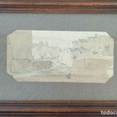 Arte: CALLE DE PEDRALBES. DIBUJO AL GRAFITO SOBRE PAPEL. LLUIS RIGALT. SIGLO XIX.. Lote 181233351
