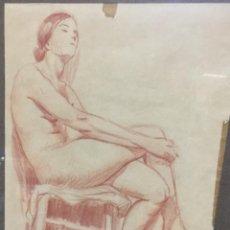 Arte: JOAN VILA PUIG ( 1890 — 1963) DIBUJO CON DESNUDO FEMENINO. Lote 181404928