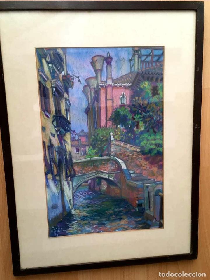 JOAN PARÉS I GOMIS (MATARÓ 1939) CONOCIDO COMO PARÉS DE MATARÓ DIBUJO CON PAISAJE URBANO (Arte - Dibujos - Contemporáneos siglo XX)