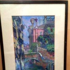 Arte: JOAN PARÉS I GOMIS (MATARÓ 1939) CONOCIDO COMO PARÉS DE MATARÓ DIBUJO CON PAISAJE URBANO. Lote 181473308