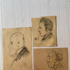 Arte: JOAQUIM TERRUELLA - 3 RETRATOS FIRMADOS. Lote 181583667