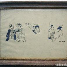 Arte: RICARD OPISSO DIBUIX DIBUJOS HUMORISTICOS .TINTA SOBRE PAPEL. FIRMADO Y ENMARCADO.. Lote 181595686