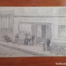 Arte: PABLO URANGA. VISTA DEL CAFÉ COMERCIAS EN LA PLAZA DE LA MARCHÉ.. Lote 181900776