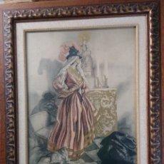 Arte: SÁEZ DE TEJADA ,LITOGRAFÍA COLOREADA A MANO,VIRGEN DE LA PEÑA. Lote 181922497