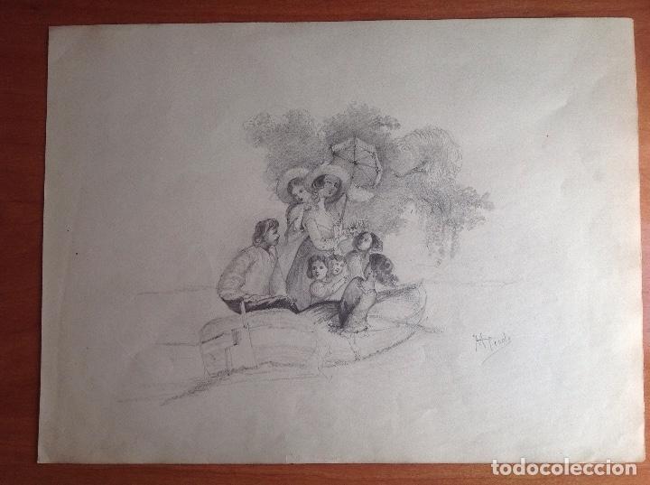 MANUEL PICOLO. ESCENA. (Arte - Dibujos - Modernos siglo XIX)