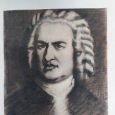 Arte: JOHANN SEBASTIAN BACH RETRATO DIBUJO A CARBONCILLO PASTEL FIRMA ILEGIBLE. Lote 182006278
